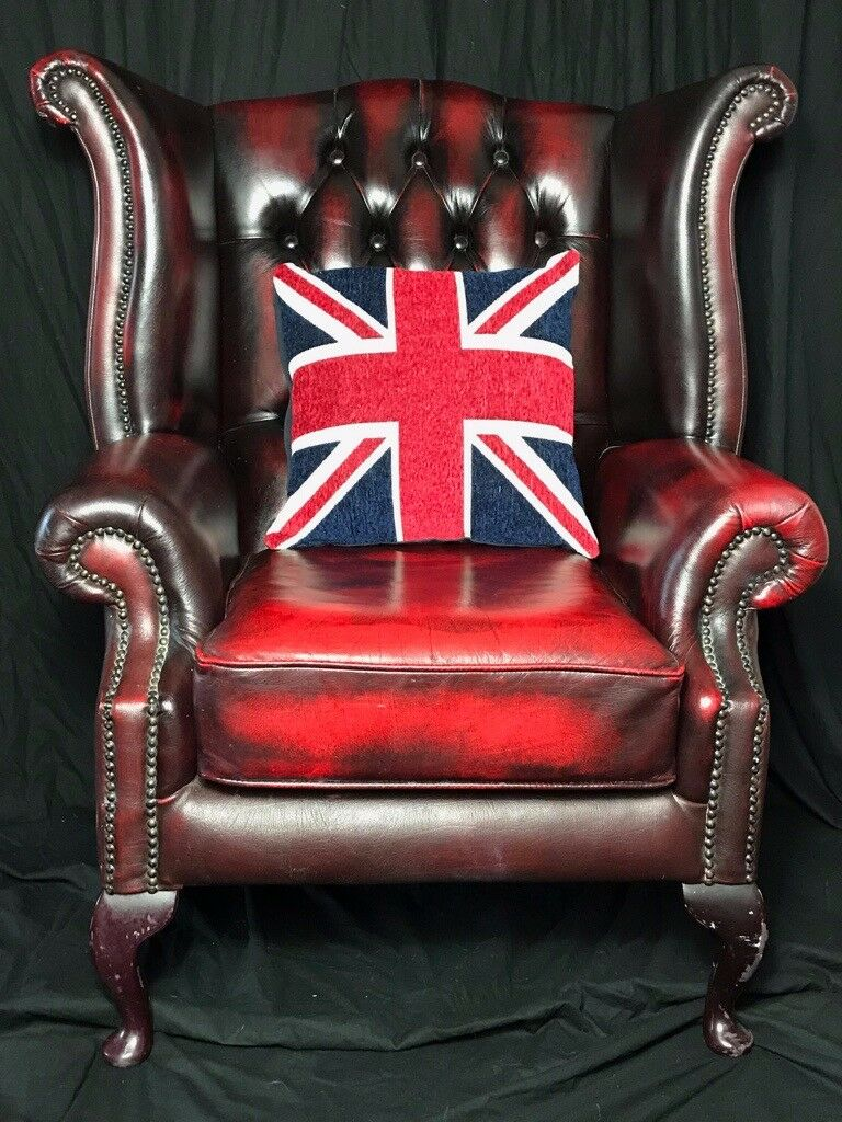 Fine Vintage Handmade Chesterfield Style Leather Wingback ...