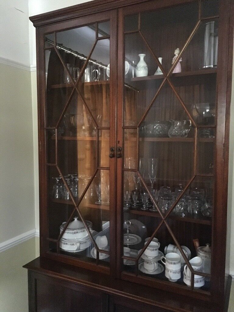 Mahogany Display Cabinet Or Bookcase Upper Section Has Gl Doors Lower Wood