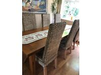 Real oak dining table and 6 chairs