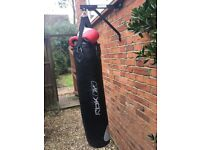 Punch bag, bracket and gloves, excellent condition rarely used (5 times)