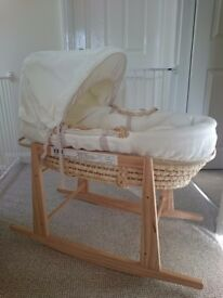 Mama and Papa moses basket and rocking stand excellent condition