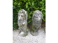 Fantastic Pair of Large Vintage Cast Stone Well Weathered Sitting Lions Garden Statues (1080)