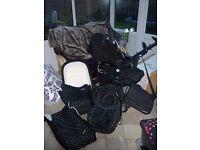 Pram, car seat, puschair. Babystyle S3D Prestige Travel System for Sale.