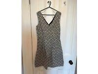 Monsoon sleeveless V neck floral pattern dress, black and white, size 10
