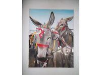 Donkeys on Blackpool Beach Large Oil on Canvas.