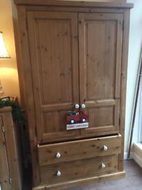 Solid Pine 2 door, 2 Drawer Wardrobe