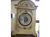 Vintage Mercedes antik porcellan ceramic clock with historical paint