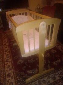 Mothercare Swinging Crib with mattress & 3pc crib set