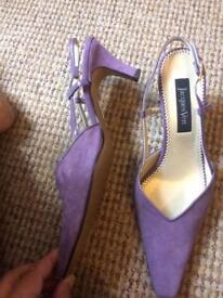 Designer ladies shoes - light purple suede sling backs size 40