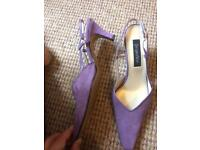 Designer ladies shoes - light purple suede sling backs size 40
