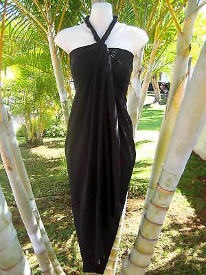 Hawaiian Hawaii Sarong Pareo Plus Sized Solid Black Luau Cruise Wrap Beach Dress