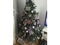 Baby pink/silver christmas tree decorations