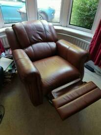 Beautiful brown leather recliner armchair