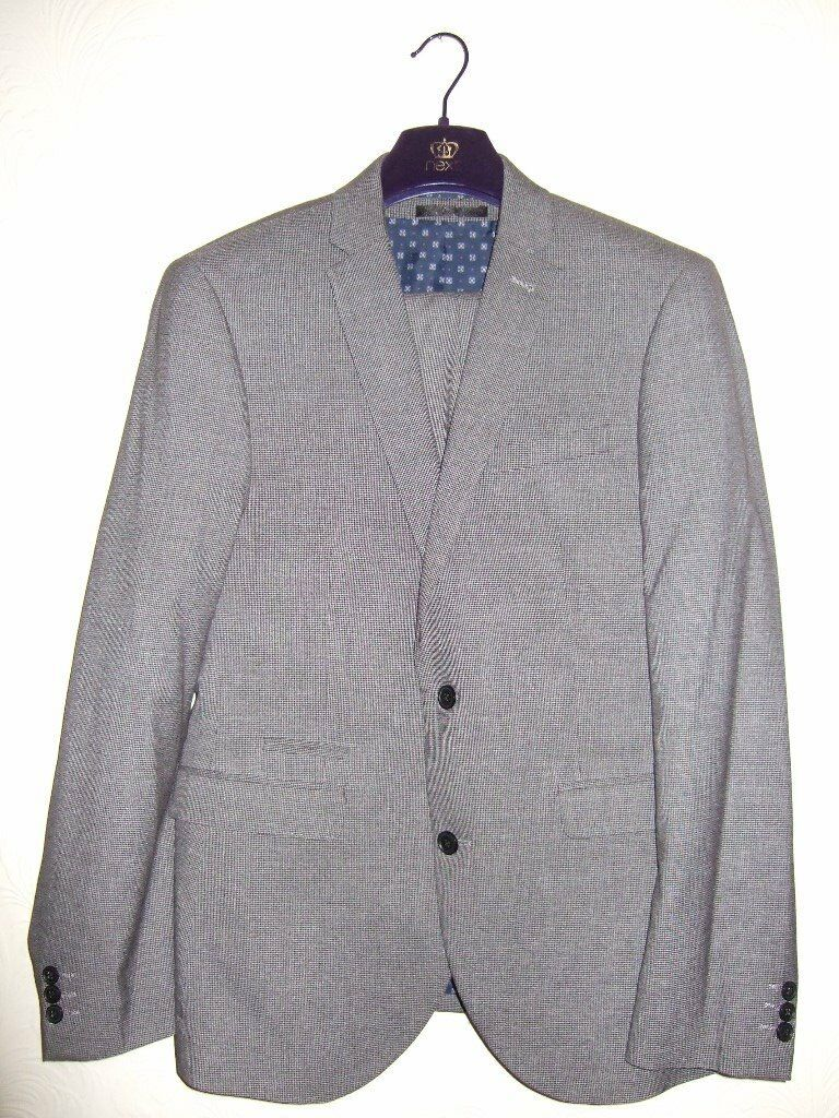 Mens Grey Slimfit Next 3 Piece Suit With White Shirt And Collar Pin