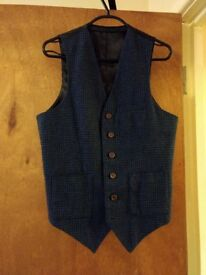 Men's Asos Navy Waistcoat and Trouser Suit, Small - FOR SALE