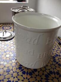 bread bin - white pottery/china
