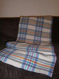 Vintage Welsh Wool Checked Pattern / Plaid Blanket