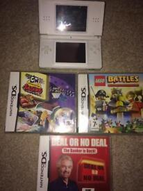 White Nintendo Ds lite and games