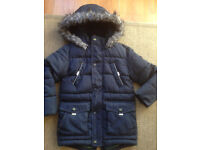 Boys Gorgeous Ted Baker Padded Winter Parka Jacket with Matching Insulated Gloves Age 6 Years