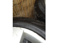 4 X ALLOY WHEELS AUDI A3. TYRES IN GOOD CONDITION 205 X 55 X 16 . .