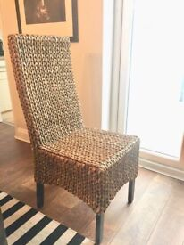 4 stylish dining chairs with chunky, solid dark wood table. Excellent condition