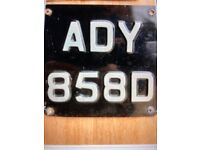 Dateless Registration Number Plate ADY 858D On Retention Certificate.