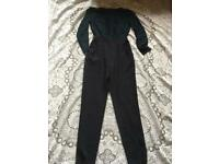 Asos ladies jumpsuit overalls black Size 8 used only one time V,good condition long sleeves £8