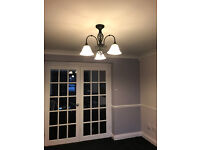 3 Light Chandelier lacquered in black