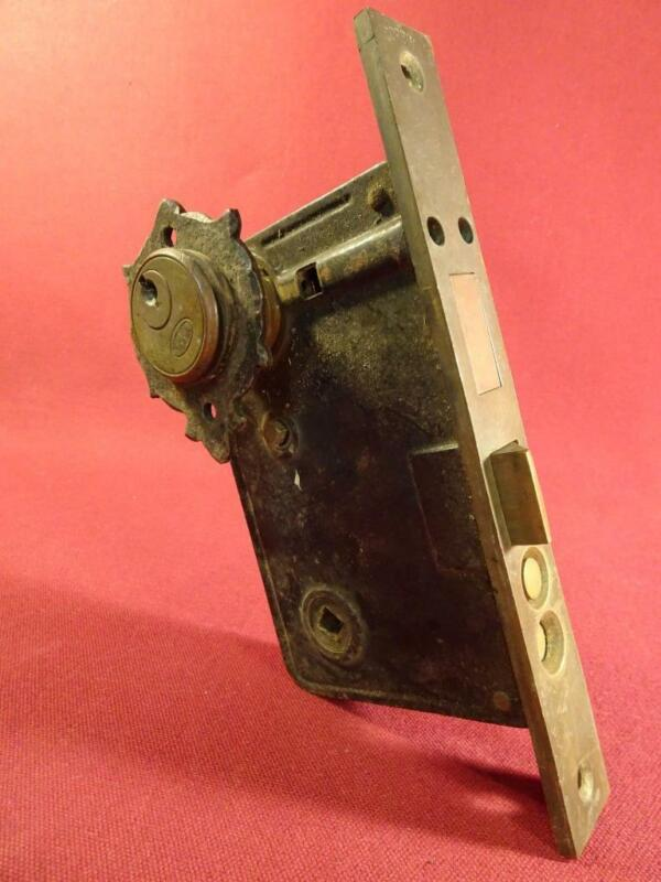 VINTAGE CORBIN PUSH BUTTON ENTRY MORTISE LOCK WITH HEAVY BRASS PLATE