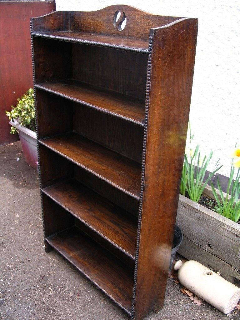 Old Antique Oak Open Bookcase Bookshelf Small Vintage Solid Shelves