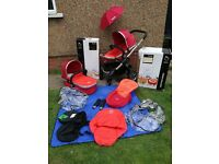 ICANDY PEACH STROLLER AND CARRYCOT (colour: TOMATO) plus matcing accessories