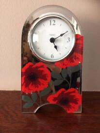 Red glass flower mantle clock