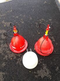 Bell drinkers for chickens/fowl