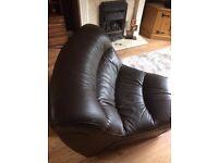 DFS ZARA modular Corner 45 degree piece chair ONLY Dark Brown high Quality thick Leather not sofa