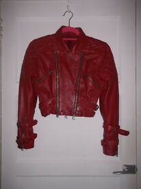 Cropped Ladies Red Leather Jacket