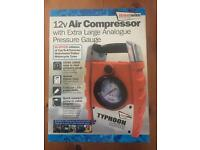 *NEW* 12V AIR COMPRESSOR - With XL Analogue Pressure Gauge