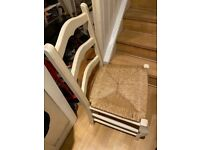 6 large solid wood kitchen wicker dining chairs