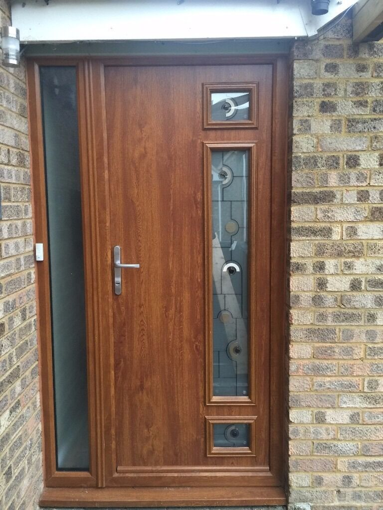 Composite Front Door, Oak Effect With Glass Panels | in Biggleswade ...