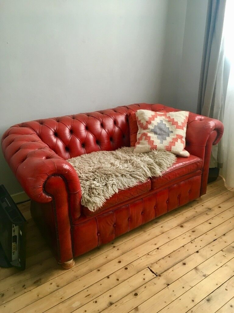 Vintage Red Leather Chesterfield Sofa Two Seat