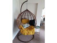 Hanging swing egg chair - brown rattan style Indoor / Outdoor