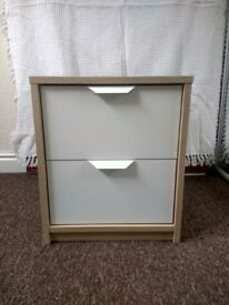 "Ikea Bedside Drawers, White/Light Wood, 2 drawers (19"" H x 16"" W x 16"" D)"