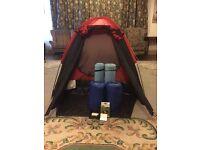 Camping Combo- 2 Man Tent, Sleeping Bags, Sleeping Mats, Solid Fuel Cooker