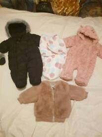 Baby 0-3 3-6m winter snowsuit bundle