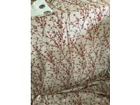 Red and cream fully lined full-length eyelet curtains - two pairs