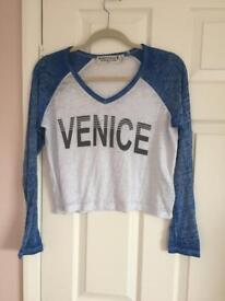 Topshop long sleeved cropped top 'venice' size medium new