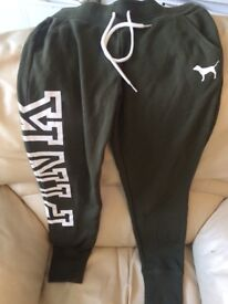 Victoria's Secret PINK Joggers in XS. Brand New with Tags. Lost Receipt. Dark Green.