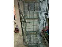Warehouse metal security wire parcel cage with wheels and door