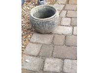 Two matching large stone planters