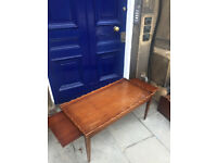 Mahogany Coffee Table with pull out sides. 99cm x 46cm Free local delivery.