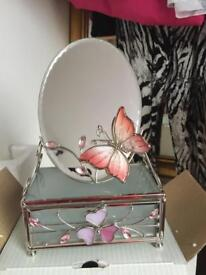 Beautiful butterfly glass storage with mirror